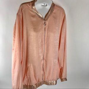 NY Collection Womens XL Pink Satin Shimmer Jacket